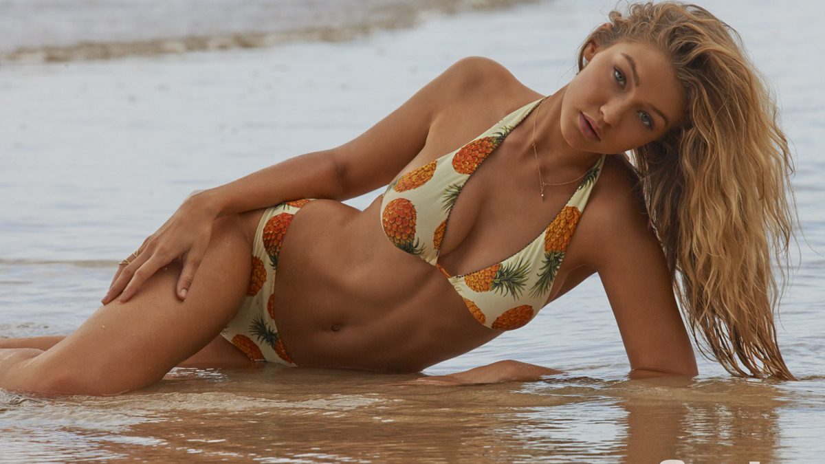 Gigi Hadid on beach for Sports Illustrated